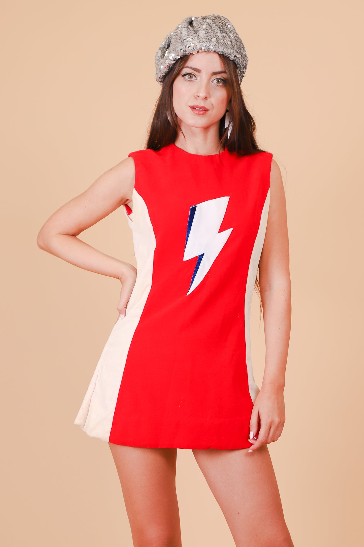 Vintage Ziggy Bolt Cherry Velvet Mini-Dress