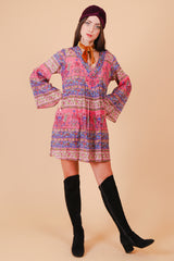Vintage Iris Purple Paisley Mini-Dress