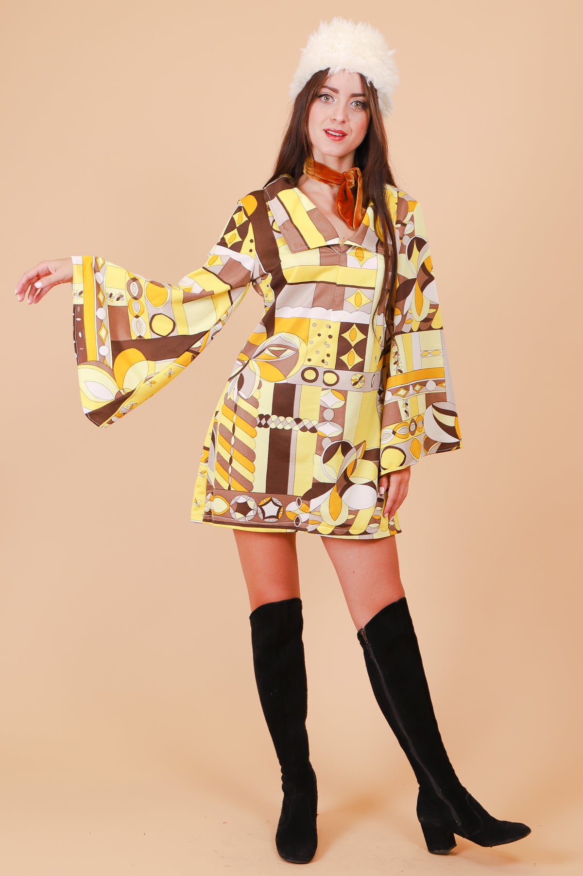 Vintage Electrical Banana Art Deco Mini-Dress