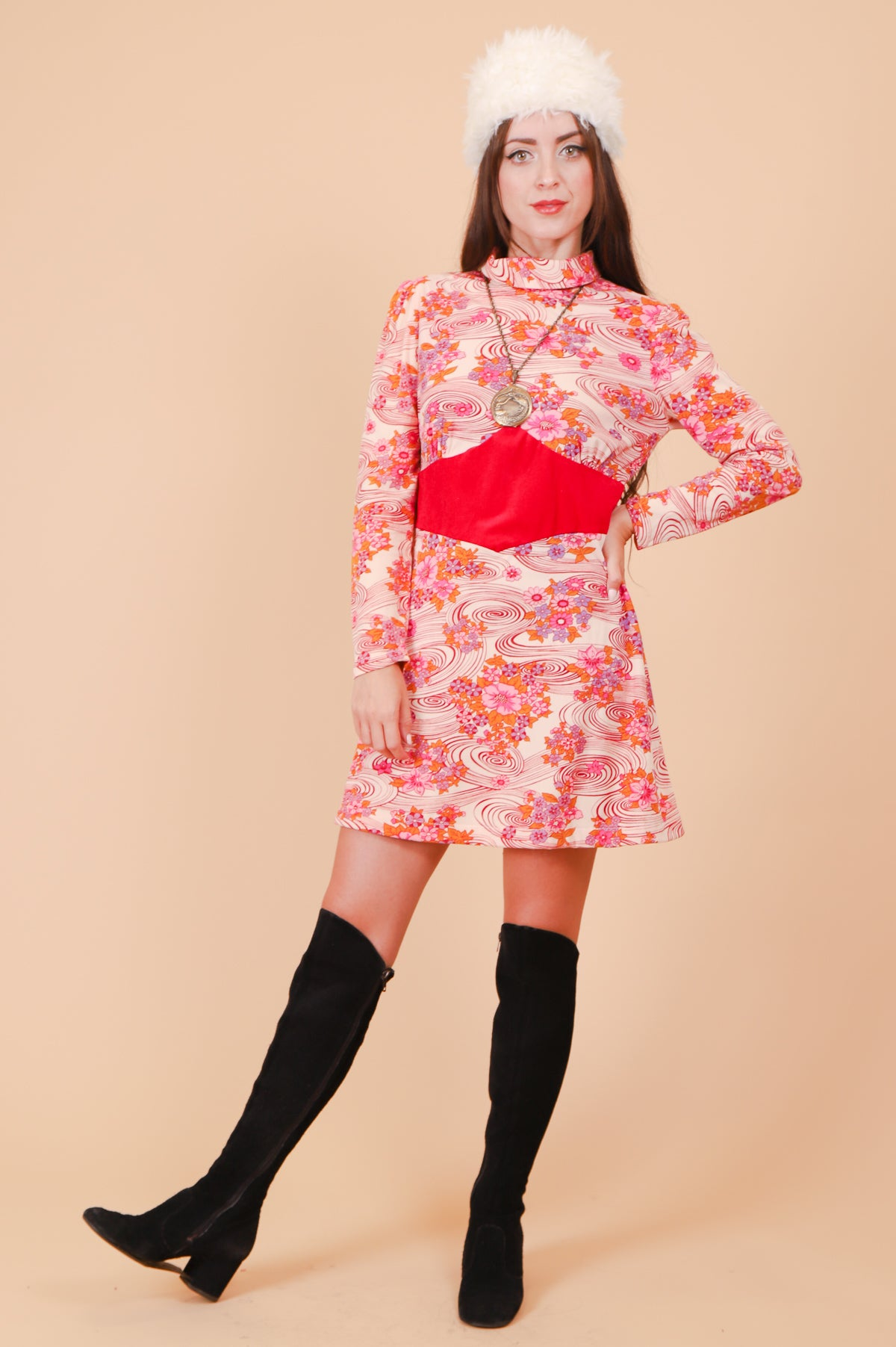 Vintage 1960's Psychedelic Raspberry Maze Mini-Dress