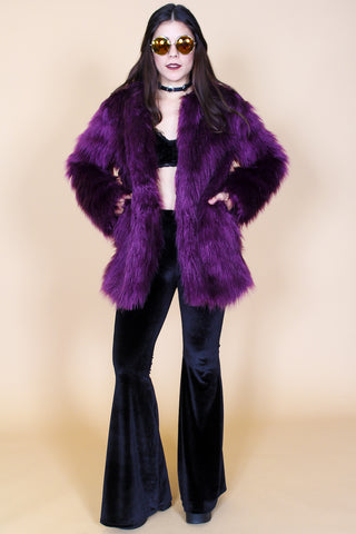 Break The Spell Plum Vegan Fur Coat