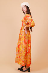 Vintage 1970's Clementine Dream Silk Maxi-Dress