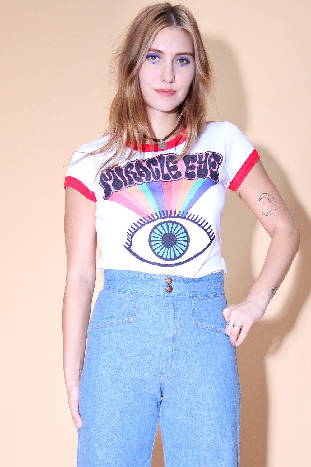 Miracle Eye White Ringer T-Shirt