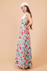 Vintage 1970's Boysenberry Pie Floral Maxi-Dress