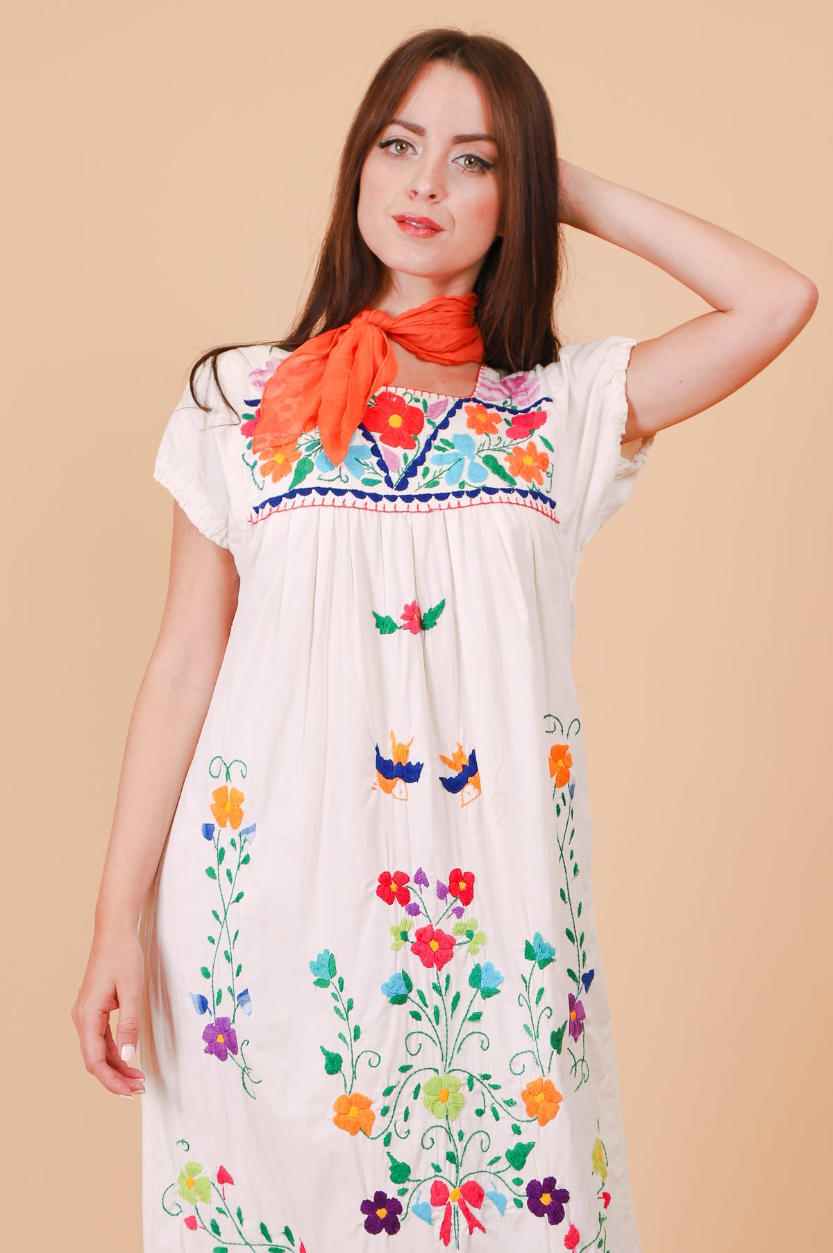 Vintage Acapulco Embroidered Maxi-Dress