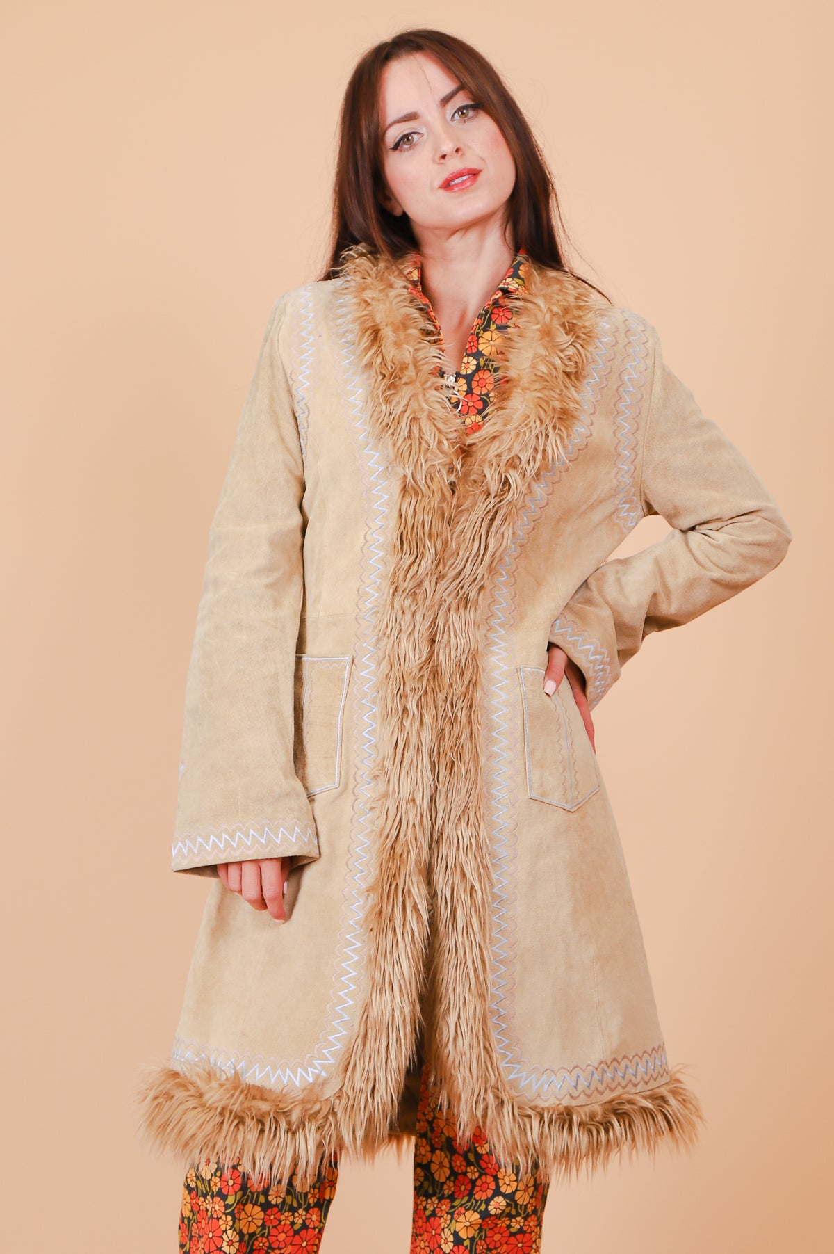Vintage Rosemary Tan Suede Fur Coat