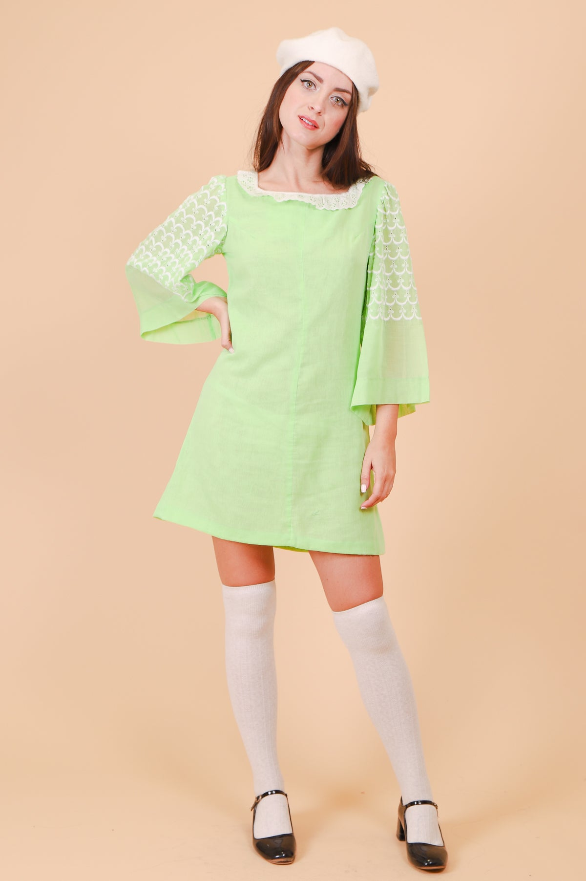 Vintage 1960's Pistachio Dolly Mini-Dress