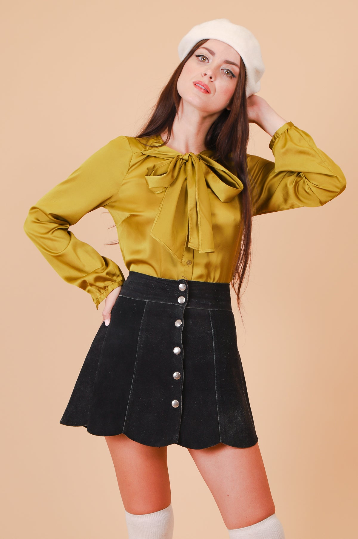 Vintage 1970's Olive Dream Pussy Bow Blouse
