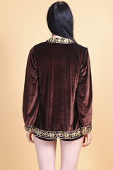 Marrakesh Express Embroidered Velvet Jacket in Chocolate