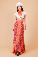 Vintage 1970's Blood Orange Daisy Maxi-Skirt