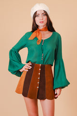 Vintage 1970's Evergreen Tree Poet Blouse