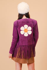 Vintage 1970's Flower Power Plum Suede Jacket