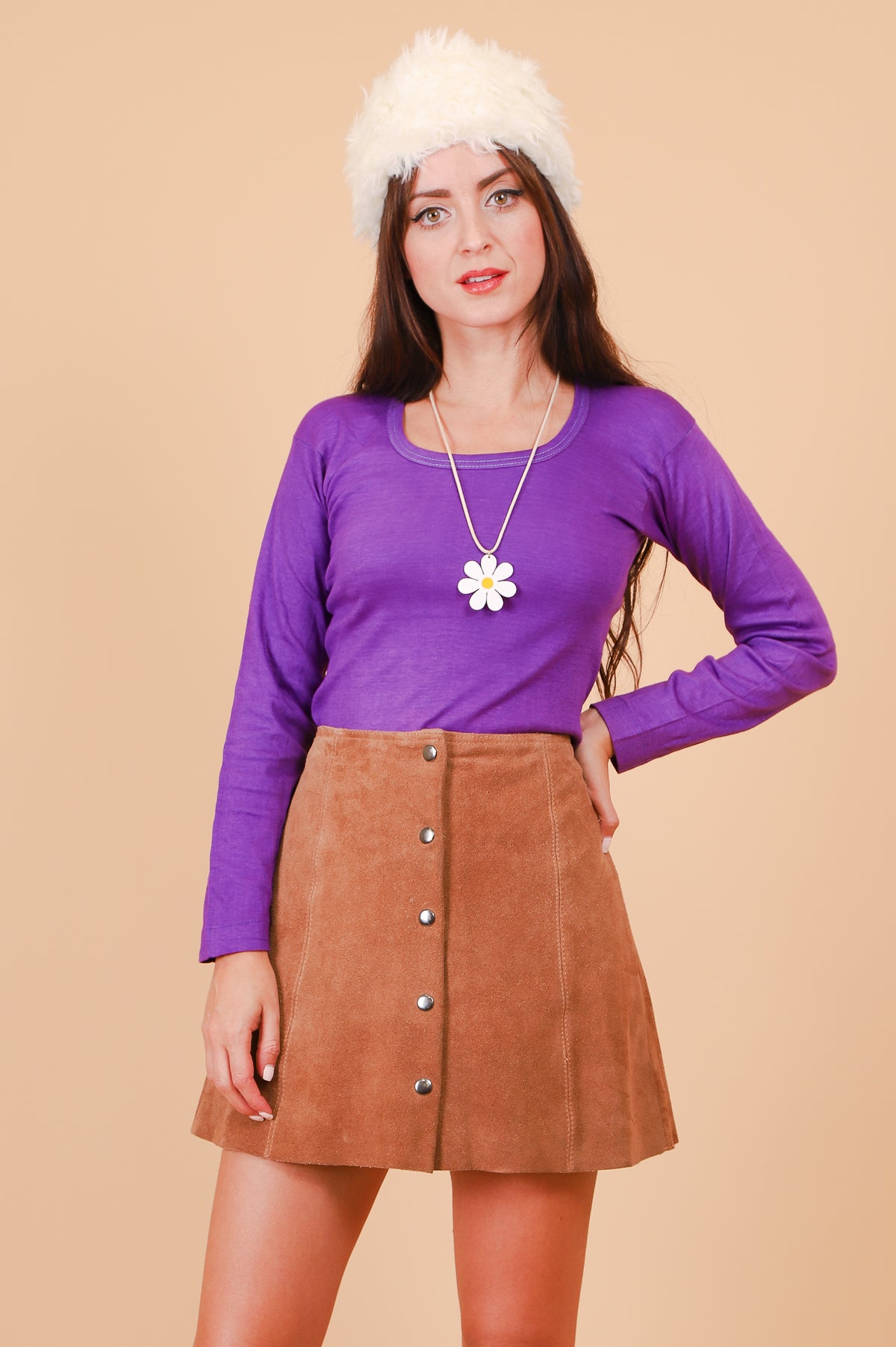 Vintage 1970's Jane Tan Suede Mini-Skirt