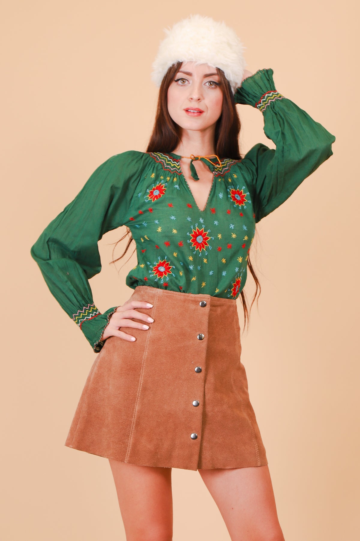 Vintage 1970's Emerald Kaleidoscope Embroidered Blouse