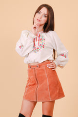 Vintage Peachy Keen Suede Mini-Skirt