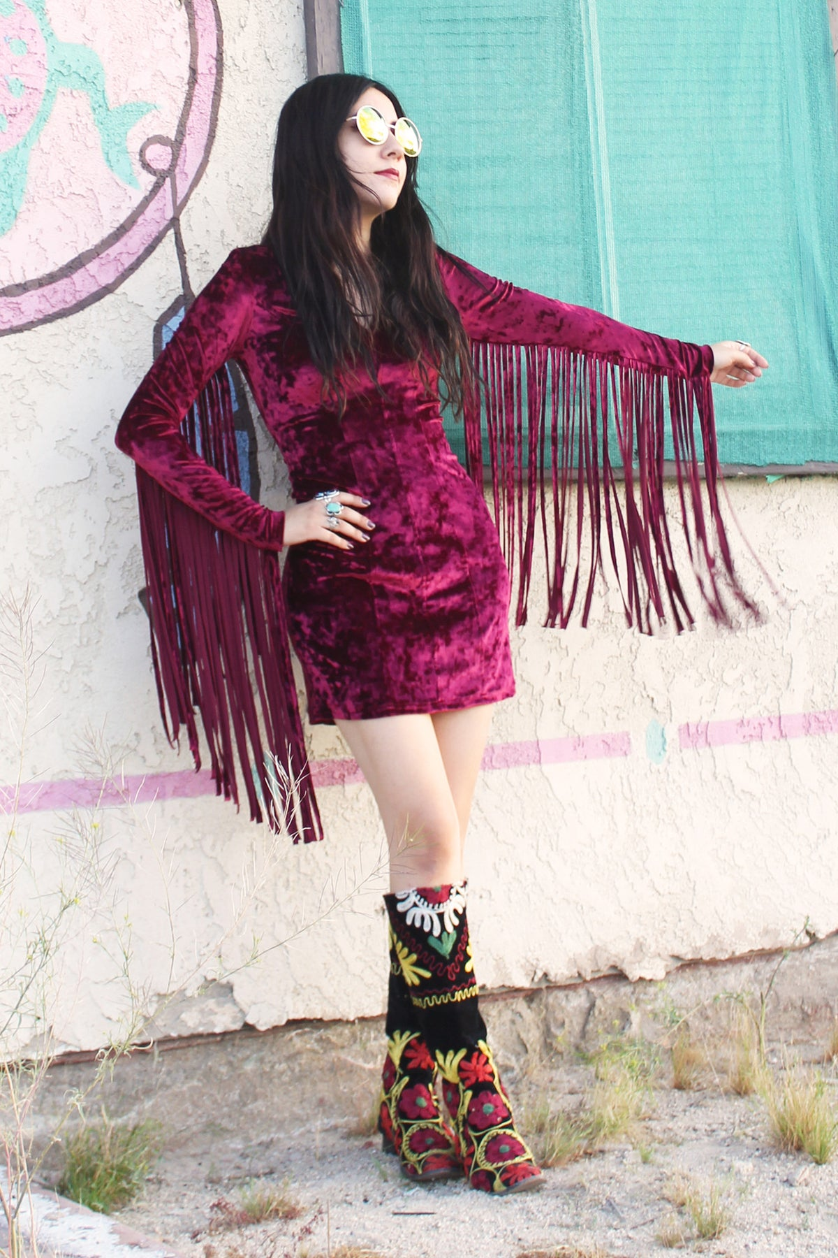Heartbreaker Fringe Velvet Dress in Burgundy