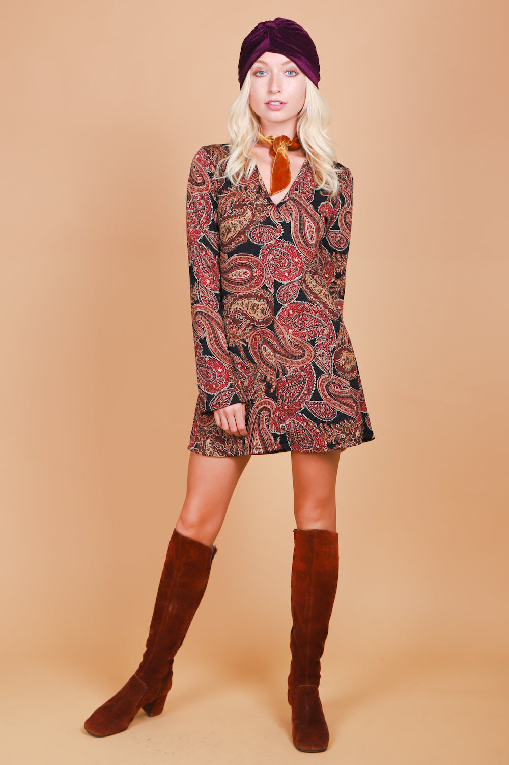 Vintage 1970's Paisley Carpets Mini-Dress