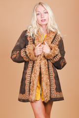 Vintage 1970's Midnight Voyage Embroidered Suede Fur Coat