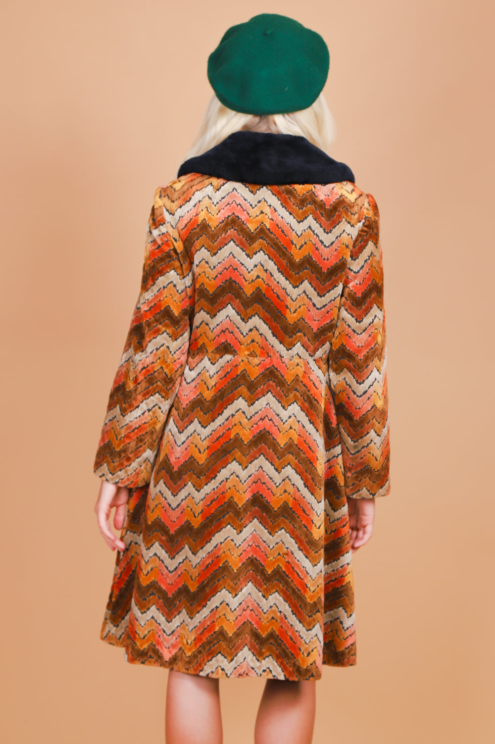 Vintage 1970's Into the Mystic Chevron Tapestry Coat