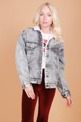 Vintage Night Owl Blues Levi's Denim Shearling Jacket