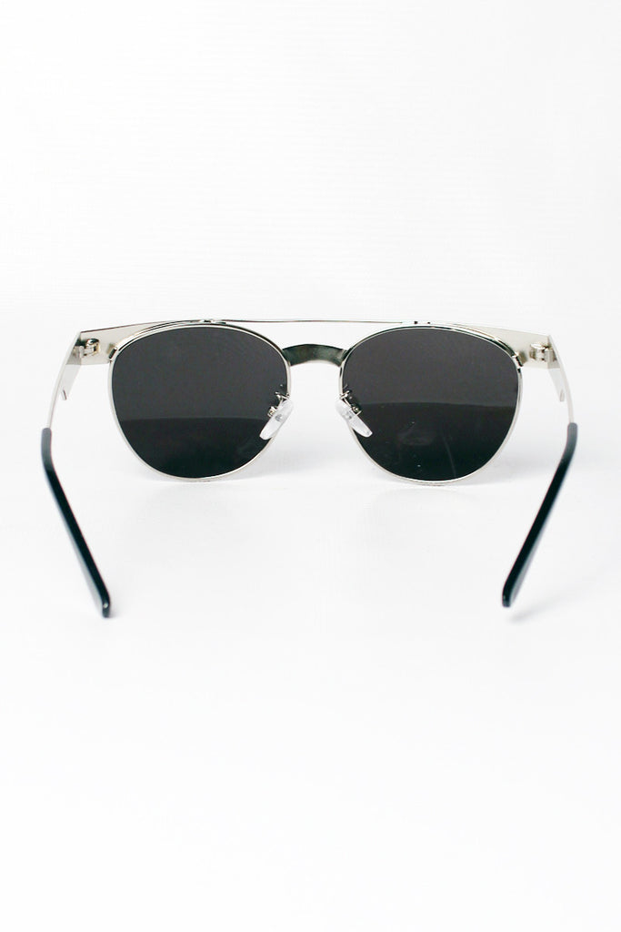 Silver Metal Flat Bar Round Sunglasses