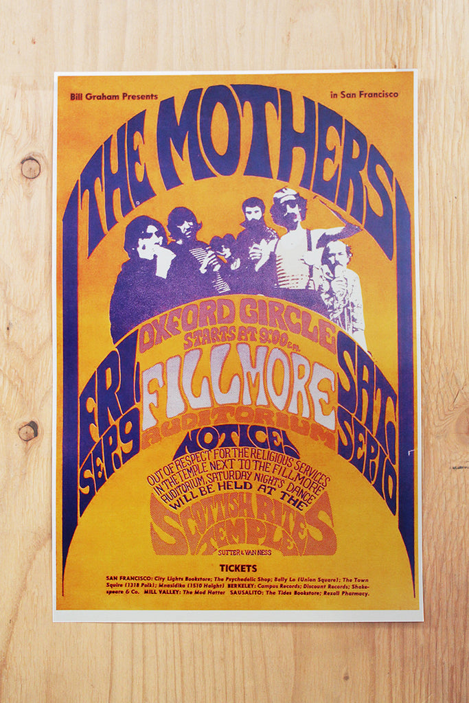 The Mothers of Invention - Fillmore Auditorium 1966 Poster