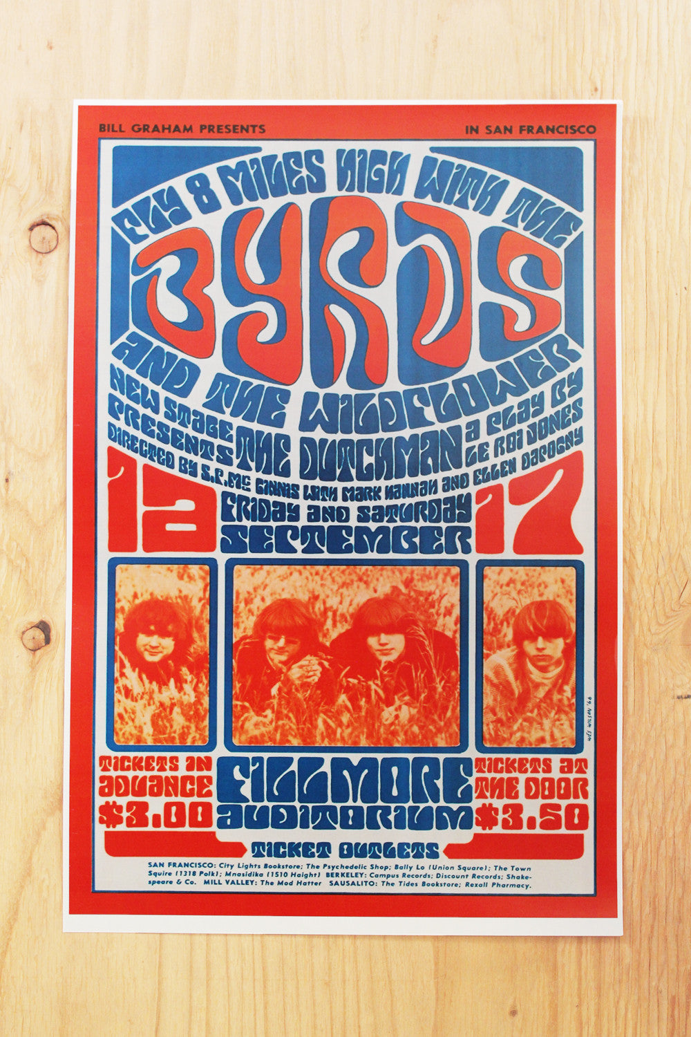 The Byrds - Fillmore Auditorium 1966 Poster