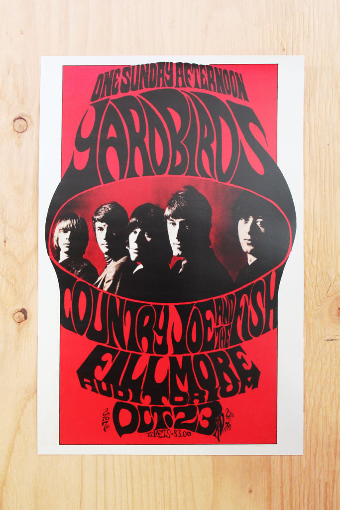 Yardbirds  - Fillmore Auditorium 1966 Poster