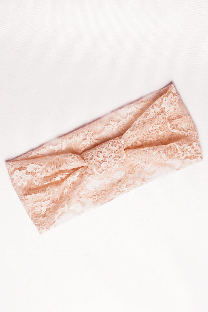 Peachy Pink Lace Headband