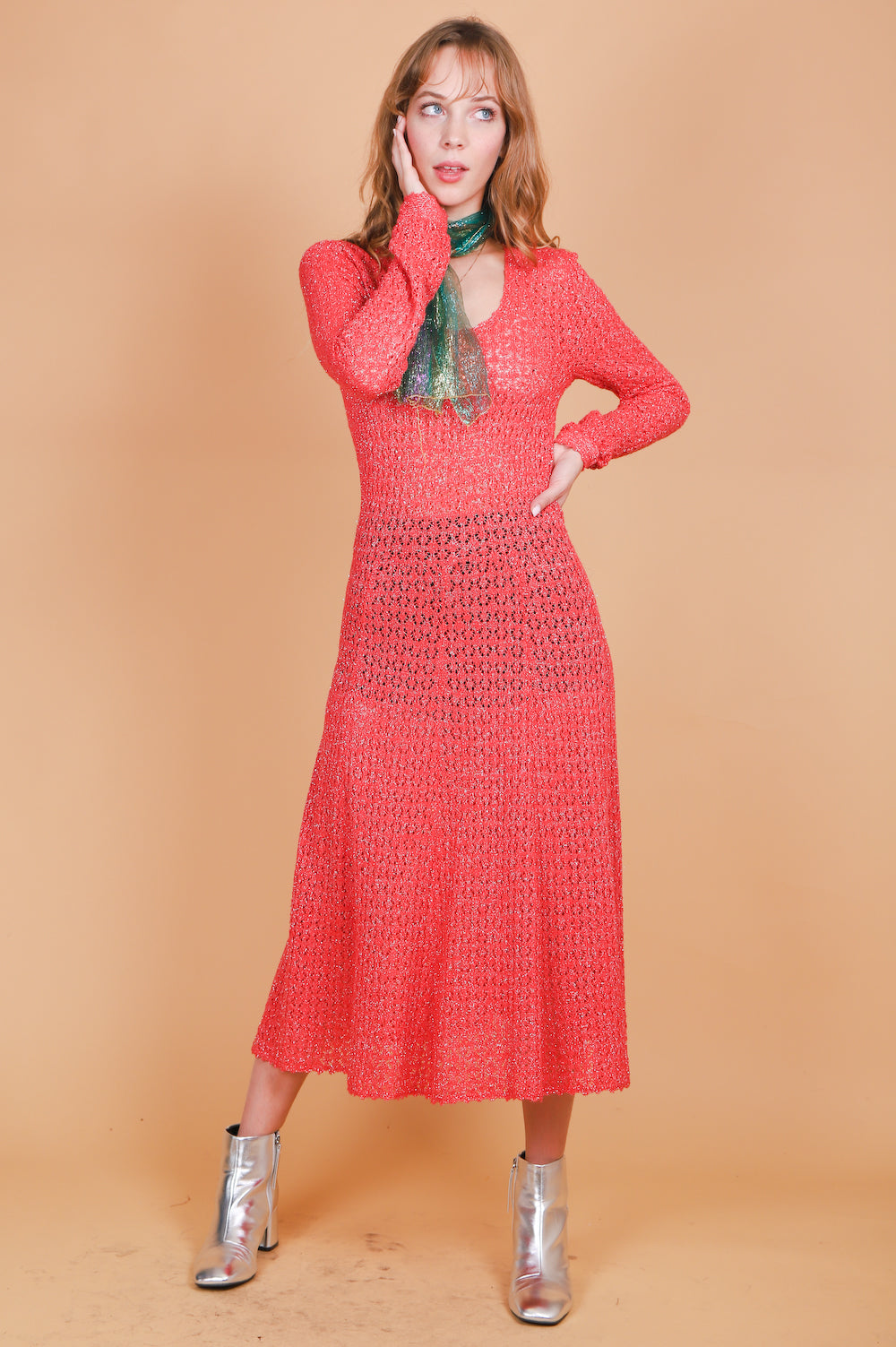 Vintage 1970's Rose Starlight Dress