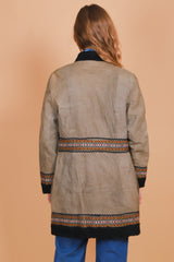 Vintage 1960's Woodstock Embroidered Suede Fur Coat