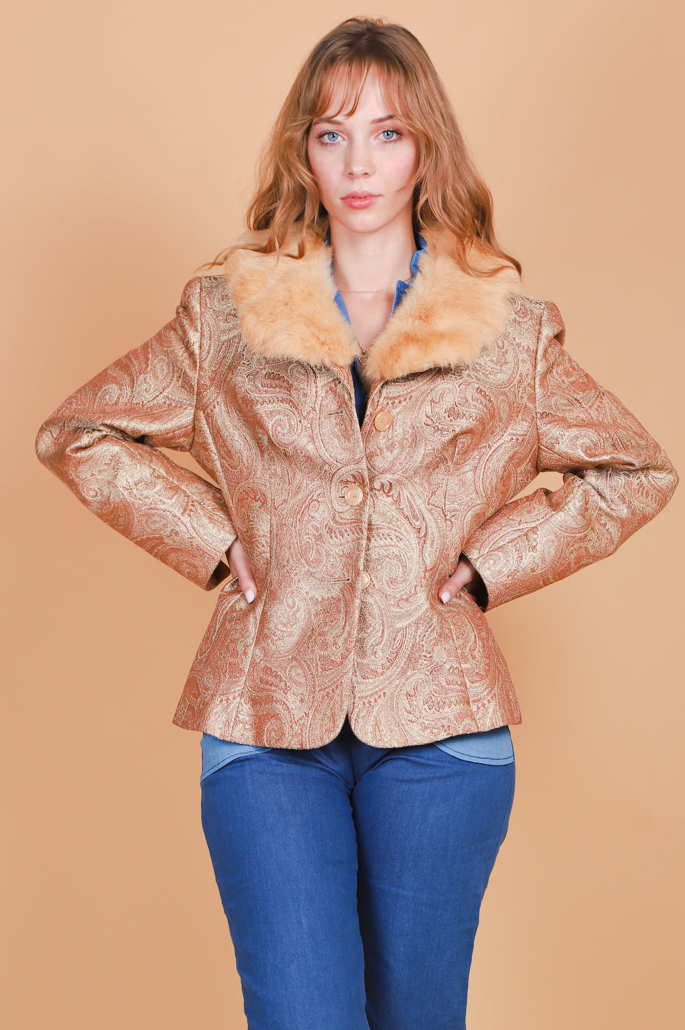 Vintage 1970's Gold Dust Woman Paisley Fur Jacket