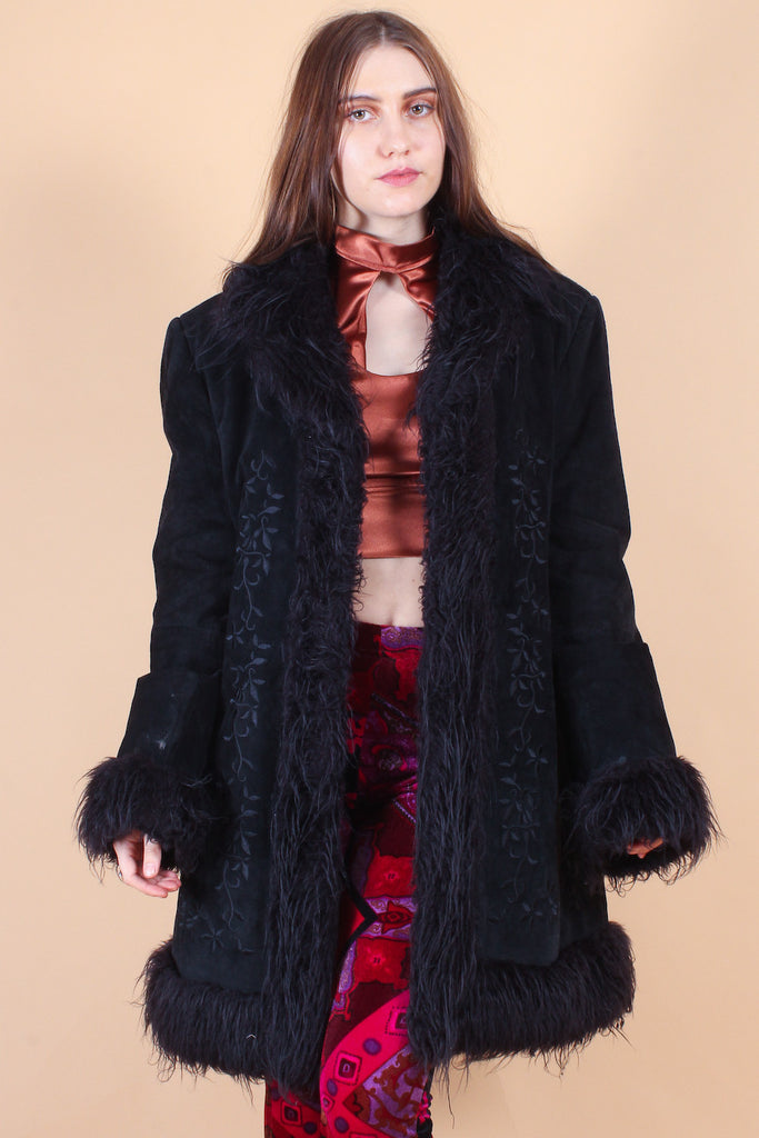 Vintage Voodoo Child Embroidered Suede Faux-Fur Coat