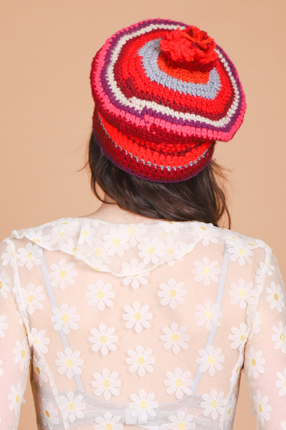 Vintage 1970's Strawberries and Cream Knit Hat