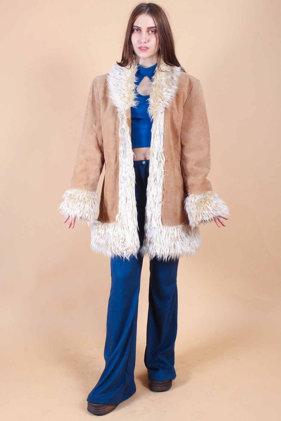 Vintage Almost Famous Suede Fur Coat