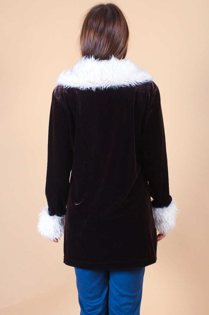 Vintage Penny Lane Velvet Tunic in Chocolate
