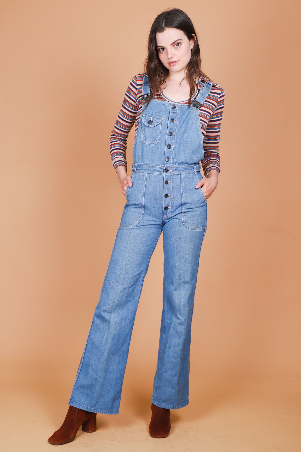 Vintage 1970's Good Vibrations Bell Bottom Overalls