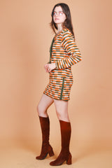 Vintage 1970's Harvest Moon Knit Mini-Dress