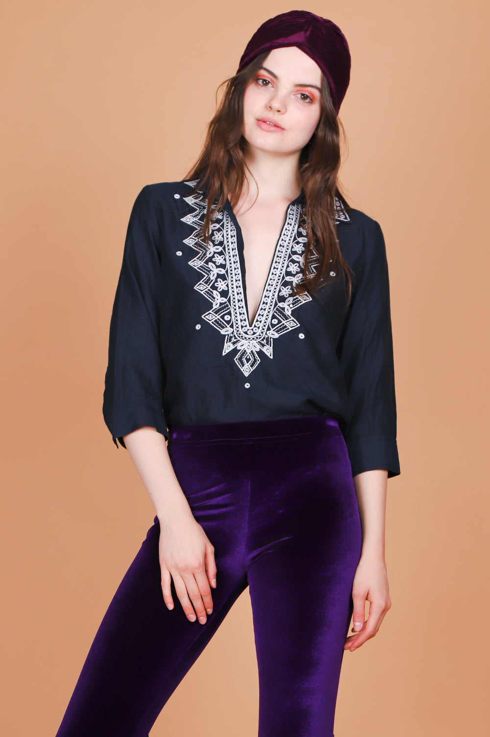 Vintage Night Moves Embroidered Top