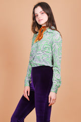 Vintage 1960's Green Apple Paisley Top