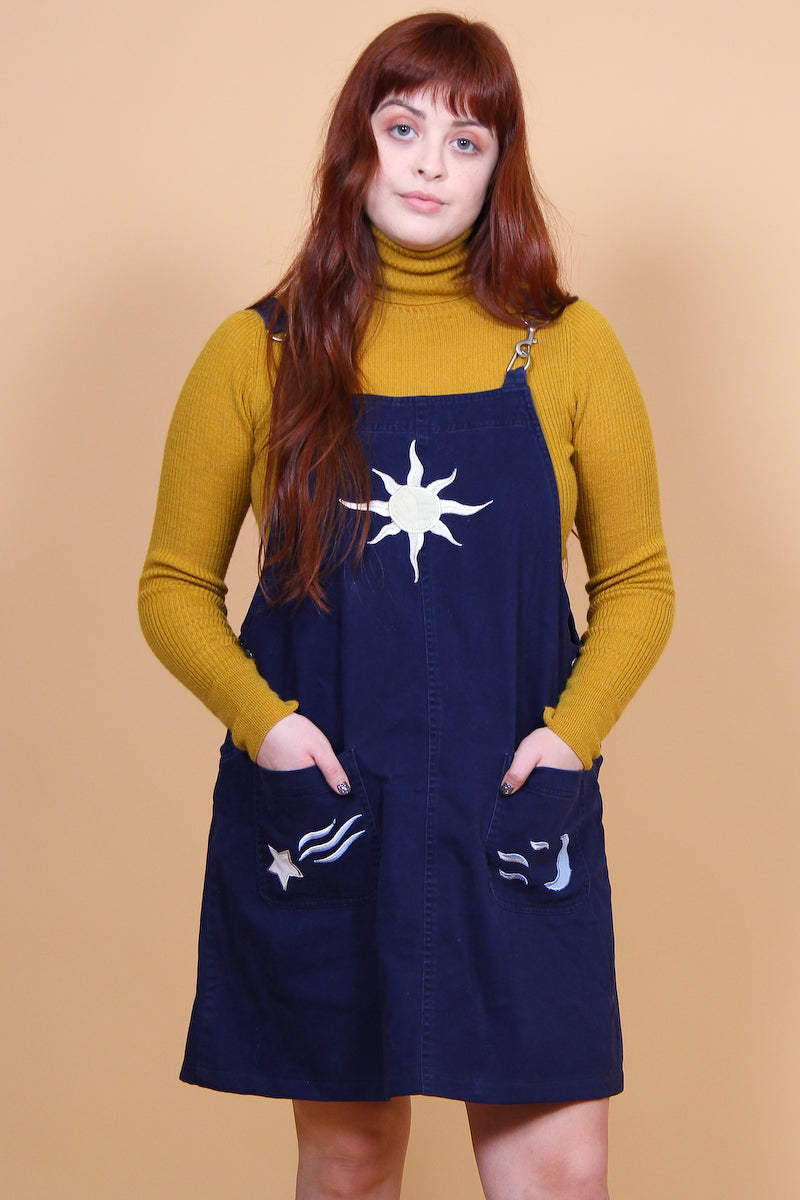 Vintage Shooting Star Celestial Embroidered Mini-Dress