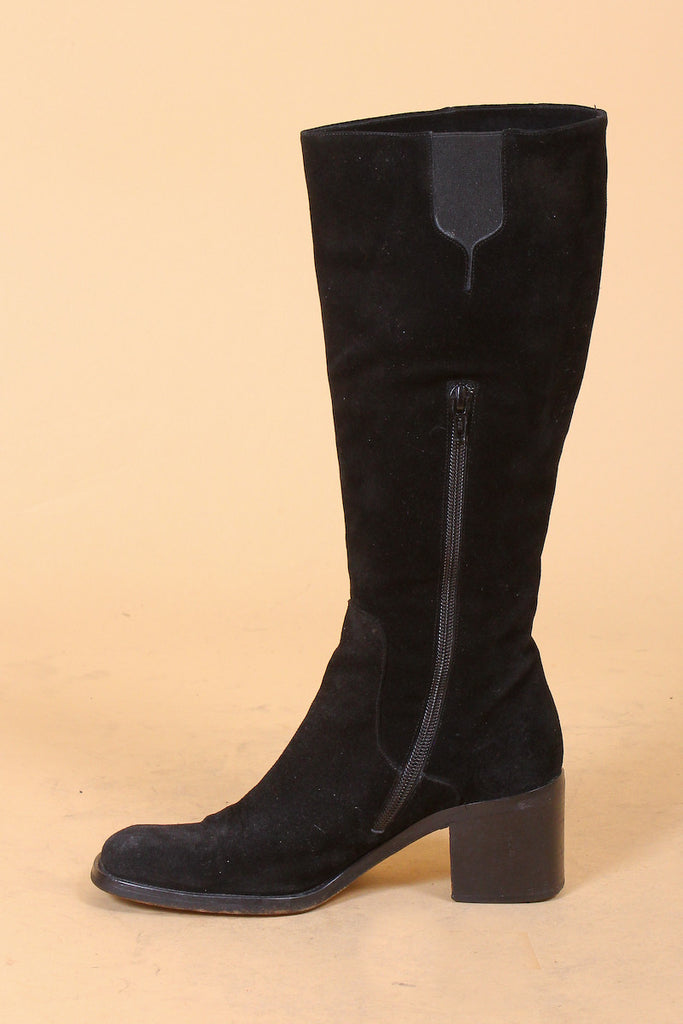 Garden of Eden Embroidered Suede Knee-High Boots