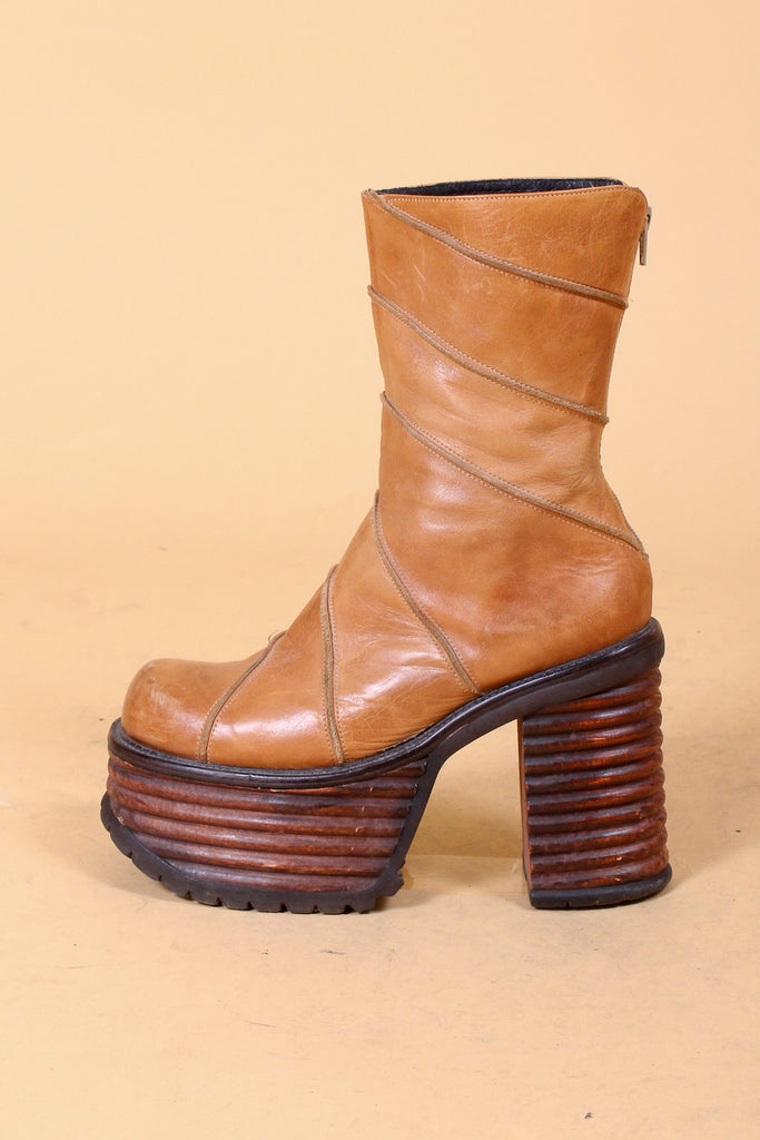 Vintage 1970's We Will Rock You Leather Platforms