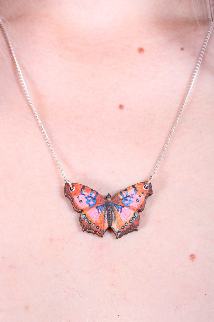 Elusive Butterfly Wooden Necklace