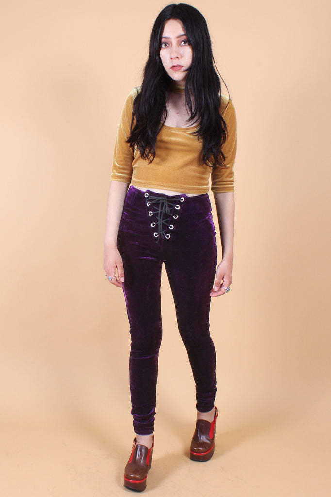Plum Velvet Lace-Up Leggings