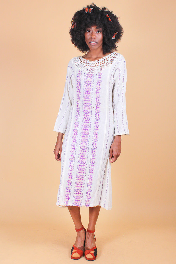 Vintage 1970's Lavender Fields Embroidered Dress