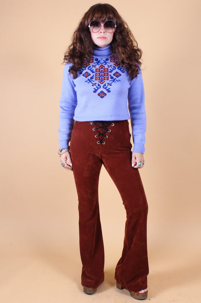 Vintage 1970's Periwinkle Fields Sweater