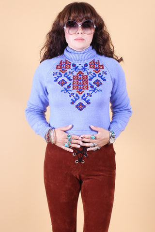 Vintage Wild West Embroidered Sweater