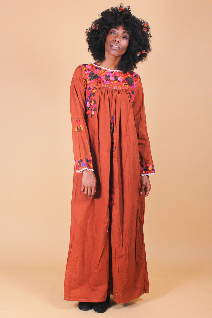 Vintage 1970's Bring a Little Lovin' Embroidered Maxi Dress