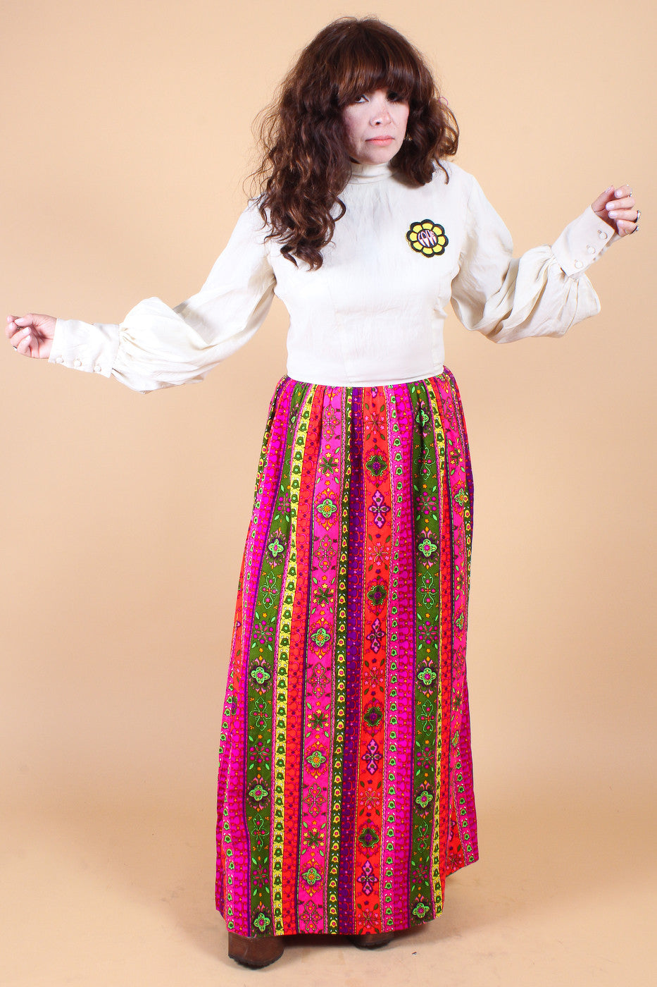 Vintage 1960's LOVE Psychedelic Folk Dream Maxi Dress